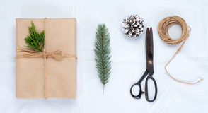 Craft and handmade present gift boxes of Christmas on white background Royalty Free Stock Photo