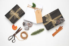 Craft and handmade present gift boxes of Christmas on white background Royalty Free Stock Image