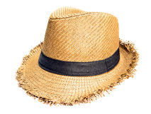 Craft hat. Woven craft hat isolate background Stock Photo