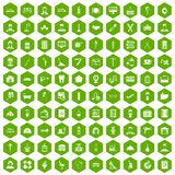 100 craft icons hexagon green. 100 craft icons set in green hexagon isolated vector illustration vector illustration