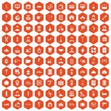 100 craft icons hexagon orange. 100 craft icons set in orange hexagon isolated vector illustration vector illustration