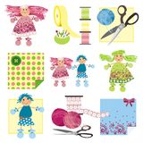 Craft icons - Rag Dolls. Illustration of icons for sewing, knitting, crafts and hobbies Stock Photography