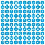 100 craft icons set blue. 100 craft icons set in blue hexagon isolated vector illustration stock illustration