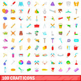 100 craft icons set, cartoon style. 100 craft icons set in cartoon style for any design vector illustration Stock Illustration