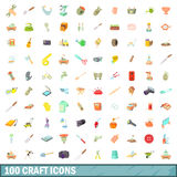 100 craft icons set, cartoon style Royalty Free Stock Photo