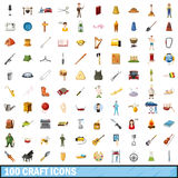 100 craft icons set, cartoon style. 100 craft icons set in cartoon style for any design vector illustration Royalty Free Stock Image