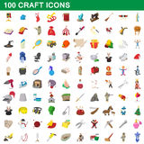 100 craft icons set, cartoon style Stock Photo