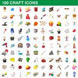 100 craft icons set, cartoon style. 100 craft icons set in cartoon style for any design illustration stock illustration