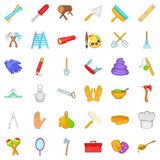 Craft icons set, cartoon style Royalty Free Stock Image