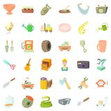 Craft icons set, cartoon style Royalty Free Stock Photography