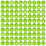 100 craft icons set green. 100 craft icons set in green circle isolated on white vectr illustration Royalty Free Stock Image