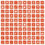 100 craft icons set grunge orange. 100 craft icons set in grunge style orange color isolated on white background vector illustration Royalty Free Illustration