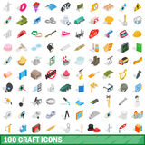 100 craft icons set, isometric 3d style. 100 craft icons set in isometric 3d style for any design vector illustration Stock Photography