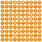 100 craft icons set orange. 100 craft icons set in orange circle isolated on white vector illustration Stock Illustration
