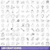 100 craft icons set, outline style Stock Images