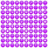 100 craft icons set purple. 100 craft icons set in purple circle isolated on white vector illustration vector illustration