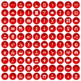 100 craft icons set red. 100 craft icons set in red circle isolated on white vector illustration Stock Photos