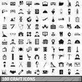100 craft icons set, simple style. 100 craft icons set in simple style for any design illustration stock illustration