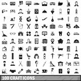 100 craft icons set, simple style Stock Images