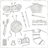 Craft icons - Sewing Icons for sewing, knitting, crafts, hobbies. Collection of design elements  on White Royalty Free Stock Images
