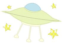 Craft inspired patchwork cute sewed ufo stars Stock Image