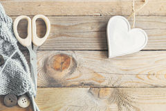Craft items on vintage table Royalty Free Stock Images