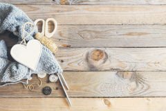 Craft items on wooden table Stock Images