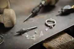 Craft jewellery making. stock photo