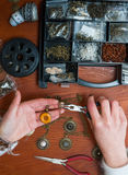Craft jewellery workshop background Stock Photo