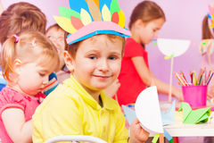 Craft kindergarten classroom portrait of boy Royalty Free Stock Photography