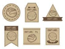 Craft labels vintage design with illustration of buns and bread. Stock illustration vector illustration