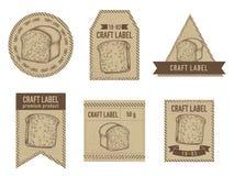 Craft labels vintage design with illustration of croissants and bread. Stock illustration vector illustration