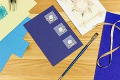 Craft making. Making a greeting card. Royalty Free Stock Photos