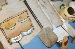 Craft market garden tools and wall decoration Stock Images