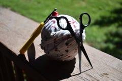 Craft materials. Scissors crochet hook yarn royalty free stock photos