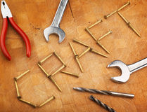 Craft metaphor. Written in screws with tools Royalty Free Stock Images