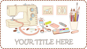 Craft and needlework set Stock Image