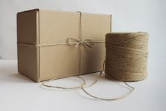 Hank of rope cardboard boxes stock photos