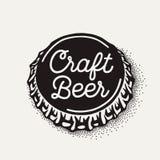 Craft o tampão de garrafa da cerveja com inscrição da fabricação de cerveja no estilo do vintage Imagens de Stock Royalty Free