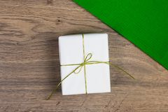 Craft paper gift box as a present for Christmas, new year, valen royalty free stock images