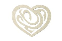Craft paper heart with ornament isolated on white Stock Photos