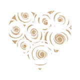 Craft paper heart with white swirls. Vector illustration of craft paper heart with white swirls, valentine card, love symbol, isolated on white Royalty Free Stock Images