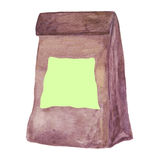 Craft paper lunch bag with a blank post it note. Stock Photo