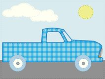 Craft patchwork blue cartoon truck road sun day Stock Photos