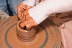 Craft- potter's wheel and clay Royalty Free Stock Photos