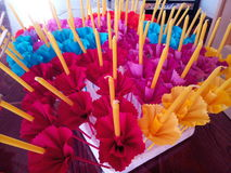 Craft. Pretty  beautiful  candle  Artificial Flowers  s Stock Photography