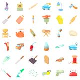 Craft production icons set, cartoon style Stock Photos