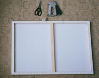Craft project, making a photoboard with a canvas Stock Images
