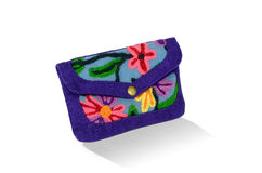 Craft purple bag in flowers pattern Royalty Free Stock Photography