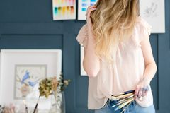 Craft room art studio creative painter workspace. Crafty room. artful studio. creative painter workspace. paintings watercolor drawings on the wall. artist Stock Images